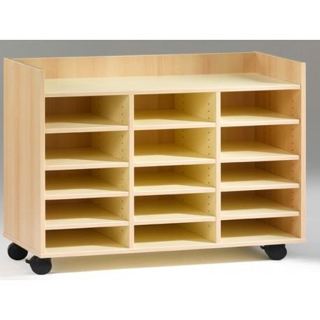 meuble 15 cases sur roulettes. Black Bedroom Furniture Sets. Home Design Ideas
