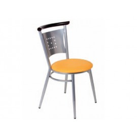Chaise métal et assise tissu enduit
