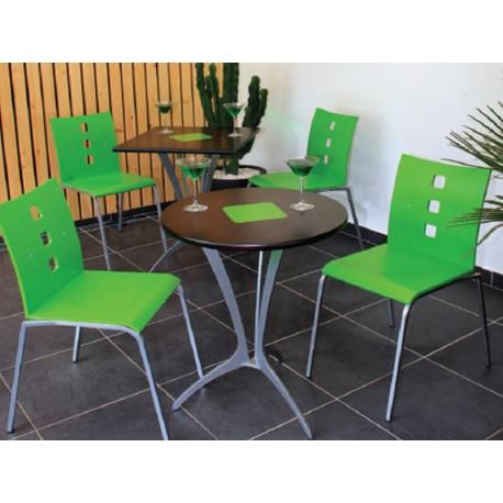 chaise m tal avec coque bois teint e. Black Bedroom Furniture Sets. Home Design Ideas